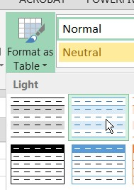 format as table Excel